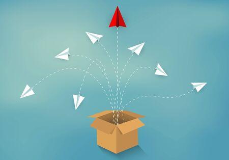 sortir des sentiers battus. avion en papier rouge et blanc éjecté de la boîte Brown isolé du fond bleu. démarrer le concept d'entreprise. idée créative. direction. illustration vectorielle