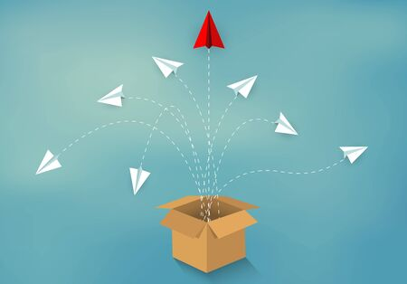 think outside the box. paper airplane red and white ejected from box Brown isolated from blue background. start up business concept. creative idea. leadership. vector illustration