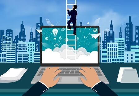 point of view hand typing modern keyboard on notebook. One businessman climbed the stairs to the on sky. concept of business advancement and higher success and leadership in the highest organization