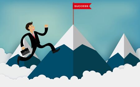One businessman run up to the mountain go to red flag with success message. To be one of the highest achievers. concept of business advancement and higher success and leadership in the highest Illustration