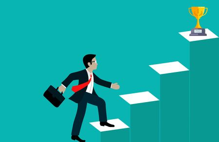 Businessmen walk up the stairs go to the target. step up the ladder to business success. and progress in the job. creative idea. leadership. vector illustration