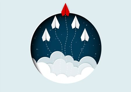 think outside the box concept. paper airplane red and white are competition to destination up to the sky ejected from circle. go to the target. startup. leadership. creative idea. vector illustration