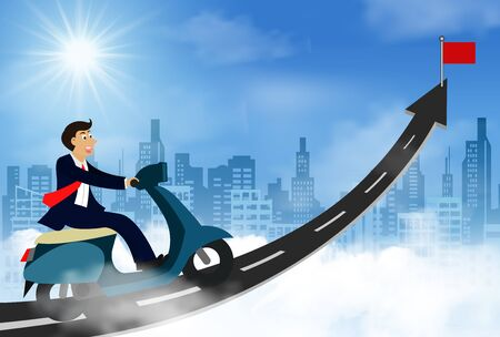 businessman run on the arrow road. go up the sky with red flag. with view of the clouds and the city. go to the target line of business success. move forward to the goal. leadership. creative idea Ilustracja