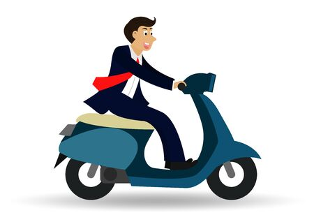 Businessman riding a motorcycle. isolated from a white background. cartoon character. vector illustration Zdjęcie Seryjne - 129289916