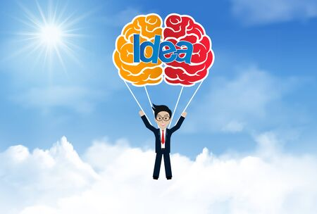 creative idea concept. brain parachute with businessman jump with from sky.  business success. vector illustration
