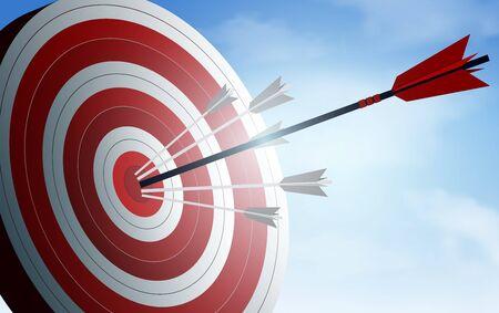 rote Pfeile schießen ins Ziel. Unternehmenserfolgsziel. kreative Idee. Illustrationsvektor