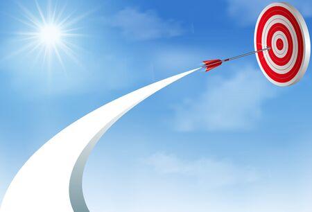 Red arrows darts fling up to sky go to center target. business success goal. creative idea. illustration vector Illustration