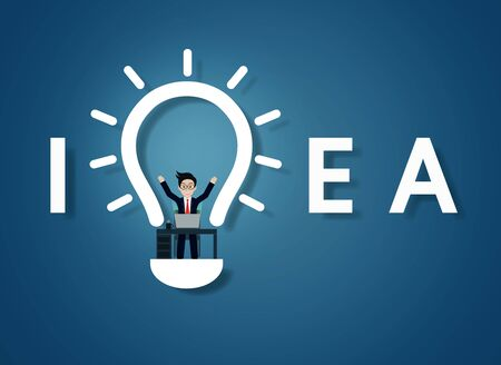 Creative idea text light bulb icon. on blue background. businessman in workspace sit at the desks with computer with lamp decoration over his head one person. vector illustration