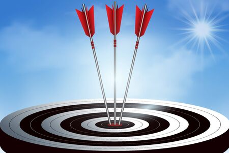red three arrows darts in target. business success goal. creative idea. illustration vector