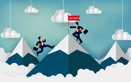 Businessman competition climbing mountain have an obstacle. go to the red flag. destination victory to success concept with idea. leadership. cartoon vector illustration Ilustração