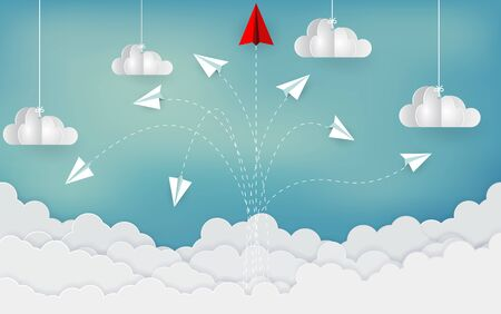 paper airplane red and white competing go to target up to the sky between cloud. new idea. different business success concept. courage to risk. leadership. startup. Vector illustrations Çizim