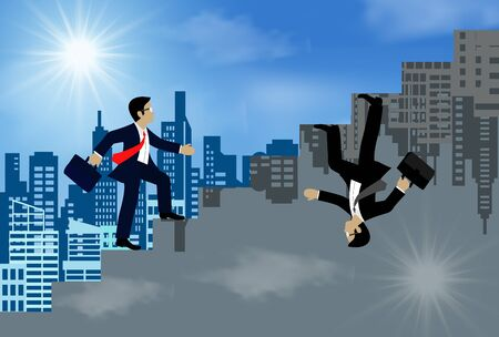 Businessmen walk up to stairs go to goal. the concept of the opposite idea. go to of financial business success. leadership. illustration vector