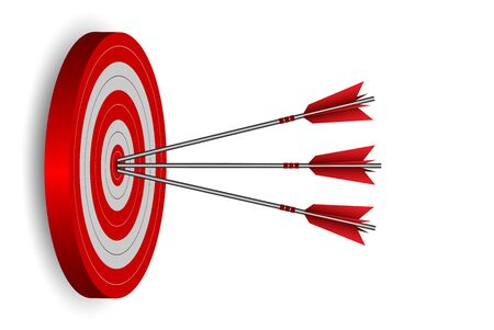 red three arrows darts in target circle. business success goal. on background white. creative idea. leadership. cartoon vector illustration