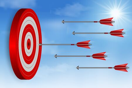 red one arrows darts in target circle. business success goal. on background white. creative idea. leadership. cartoon vector illustration