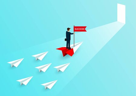businessmen stand catch the flag on paper plane a red The competition with white paper aircraft. going to the door of business success goals. creative idea.leadership. cartoon vector illustration Иллюстрация