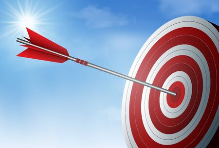 red one arrows darts in target circle. business success goal. on background sky and sun. creative idea. leadership. cartoon vector illustration