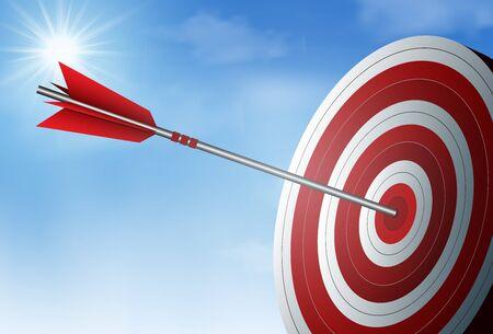 rote Pfeile schießen in den Zielkreis. Unternehmenserfolgsziel. auf Hintergrund Himmel und Sonne. kreative Idee. Führung. Cartoon-Vektor-Illustration