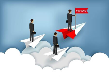 Three businessmen Stand on paper plane a red and white. One People Standing catch the red flag. Floating over the cloud go to achieve business success goals. business finance. leadership. cartoon