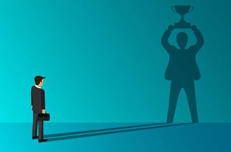 businessmen which a shadow standing holding a trophy of success on the wall. on blue background. Distinction and leadership. creative idea. cartoon vector illustration Иллюстрация