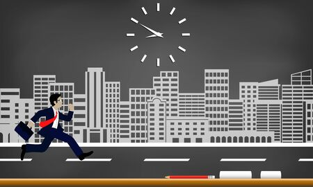 Businessmen run to race against time. follow the clock to work late. Business concept. cartoon isolated from a city drawing on blackboard background, illustration vector Çizim
