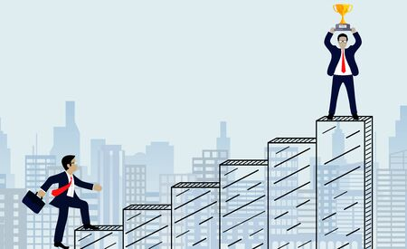 Successful business race concep. Businessmen walk up the bar graph to the goal. on city background. and progress in the job. Of the highest organization. Vector illustration