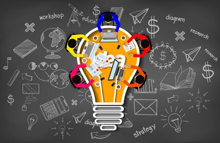 Business meeting. creativity inspiration planning light bulb icon concept. teamwork. businessmen help to brainstorm idea to achieve higher and success. vector illustration Иллюстрация