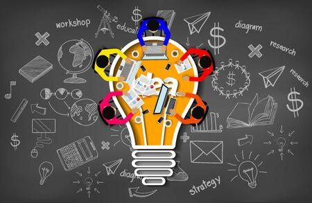 Spotkanie biznesowe. inspiracja kreatywności planowanie koncepcja ikona żarówki. Praca w zespole. biznesmeni pomagają w burzy mózgów, aby osiągnąć wyższy i sukces. ilustracja wektorowa