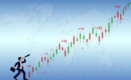 Concept de réussite commerciale. Homme d'affaires tenant des jumelles regardant un commerçant de graphiques financiers C'est jusqu'au sommet. Sur un fond bleu contient une carte du monde. idée créative. Illustrations vectorielles