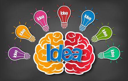 Gehirn-Icon-Kopf mit mehreren Glühbirnen funken Viele Farbideen im Geschäft. moderne Kreativität. Zeichnung auf Tafelhintergrund. aufgeschlossen. Vektor-Illustration Vektorgrafik