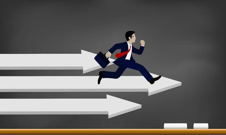 Businessman running on the arrow white. Business Success concept.  Move forward to the goal. leadership. modern ideas And to corporate . competing to destination. illustration. paper art Illustration