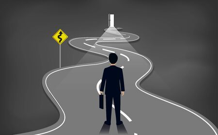 Businessmen are walking on a winding road. to the destination. go to target growth. on background blackboard.  leadership. challenge. creative idea. business success concept. vector illustration Illustration