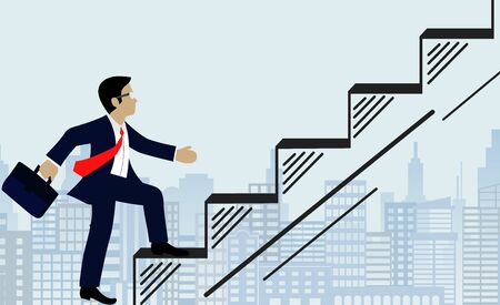 Businessmen walk up the stairs to the goal. on city background. Step up the ladder to success,  and progress in the job. Of the highest organization. Business Finance Concepts. Vector illustrations