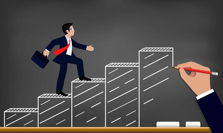 Businessmen walk up the bar graph to the goal drawing. on blackboard background.  up the ladder to success,  and progress in the job. business finance Concept. Vector illustration