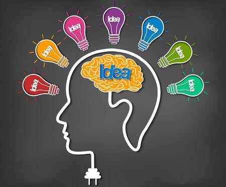 Gehirn-Icon-Kopf mit mehreren Glühbirnen funken Viele Farbideen im Geschäft. moderne Kreativität. Zeichnung auf Tafelhintergrund. aufgeschlossen. Vektor-Illustration