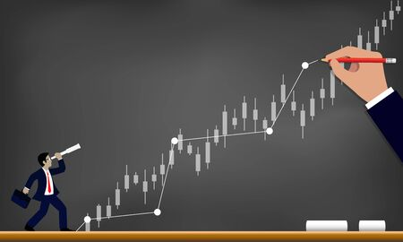 Business success concept. Businessman holding binoculars looking at financial chart trader That's up to the top. drawing on blackboard background contain. creative idea. Vector illustration Vecteurs