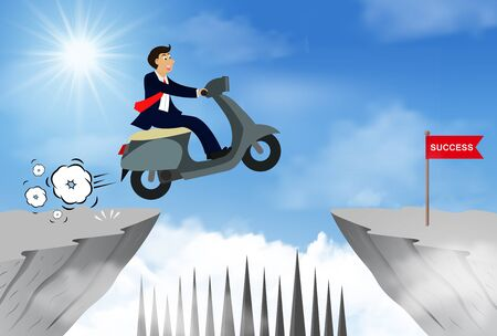 businessman riding a motorbike jumping over obstacles over chasm go to the opposite goal.  business success. challenge and overcome problem or obstacles. leadership. creative idea. Vector illustration