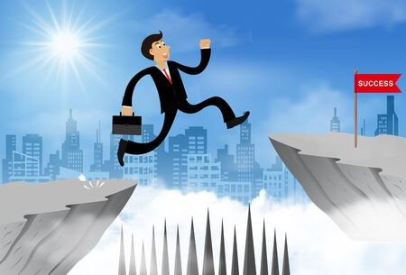 Businessman jump from the cliff obstacle over chasm go to the opposite goal.  business success. challenge and overcome problem or obstacles. leadership. creative idea. Vector illustration 스톡 콘텐츠 - 129290351