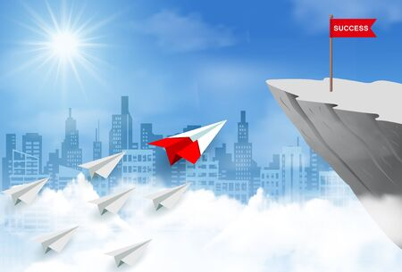 Paper plane competition go to flag red on cliff obstacle. go to goal and business finance success. challenge and overcome problem. leadership. creative idea. cartoon vector illustration
