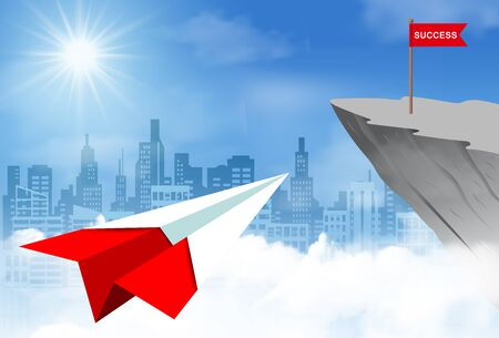 Paper plane go to flag red on cliff obstacle. go to goal and business finance success. challenge and overcome problem. leadership. creative idea. cartoon vector illustration Ilustração