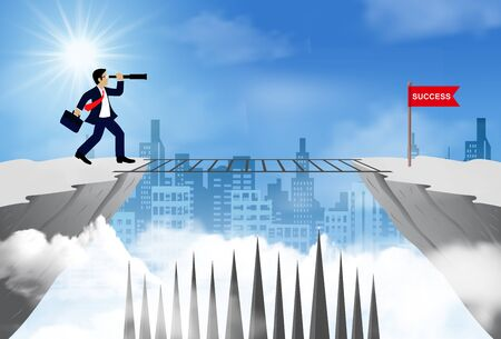 businessman standing on a cliff looking with the telescope opposite flag red.  business success. challenge and overcome problem or obstacles. leadership. creative idea. cartoon vector illustration