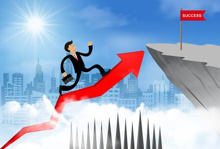Businessman running on a arrow go to flag red on cliff obstacle. go to goal and business finance success. challenge and overcome problem. leadership. creative idea. cartoon vector illustration