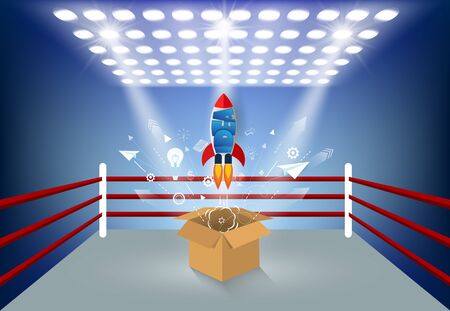 think outside the box. space shuttle ejected from the brown box on boxing ring surrounded by spotlight on a dark blue background. startup business concept. creative idea. cartoon vector illustration