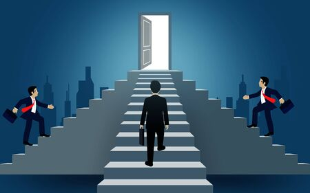Businessmen walk up the stair to the door. destination, victory  to success concept with idea. leadership concept. Ladder to success business. Cartoon vector illustration Stock Illustratie
