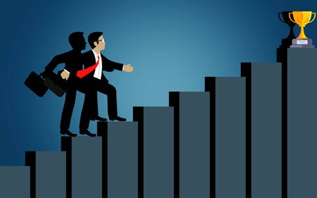 Businessmen walk up the bar graph to the goal. destination, victory  to success concept with idea. leadership concept. Ladder to success business. Cartoon vector illustration