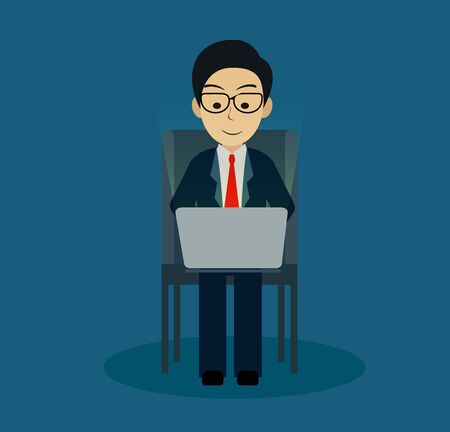 Businessman sitting on the chair, playing a computer notebook. on blue background. creative idea. business finance concept. leadership. vector illustration Vector Illustration