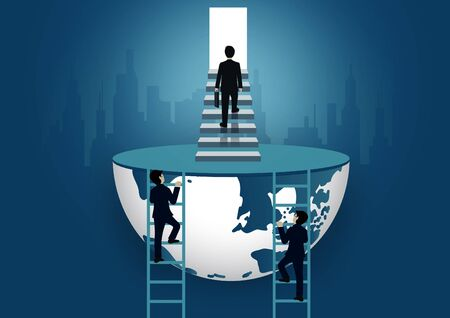 Businessmen walk up the stair to the door. step up the ladder to success goal in life and progress in the job. of the highest organization. business finance concept. icon. world vector illustration Ilustração