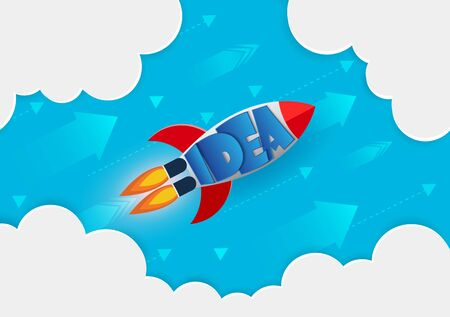 space shuttle launches to sky. go to the goal of financial business success and effort go to target growth. creative idea. leadership. vector illustration Ilustração