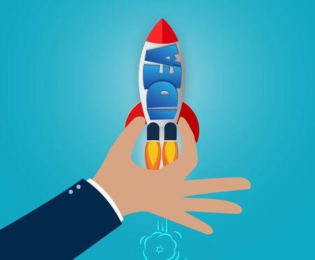 Hand holding a space shuttle. creative idea concept. vector illustration