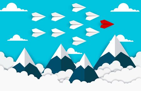 Paper plane are competition go to destination up to the sky between cloud and mountain.. go to success goal. business financial concept. leadership. creative idea. illustration vector. start up