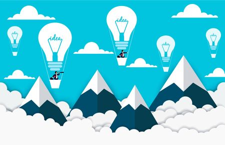 Creative thinking. Businessmen flying in hot air balloons in the sky between cloud and mountain. concept light bulbs, succeed in higher business. Vector illustrations